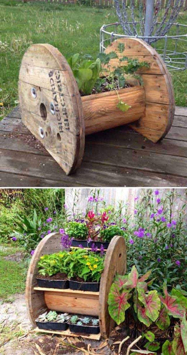Wire spool planter