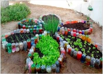 Recycled plastic botlles garden