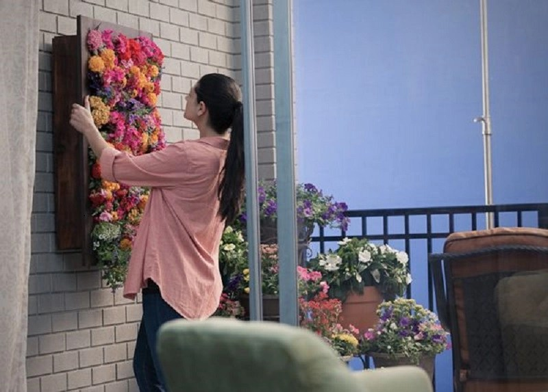 Hanging flower box living wall