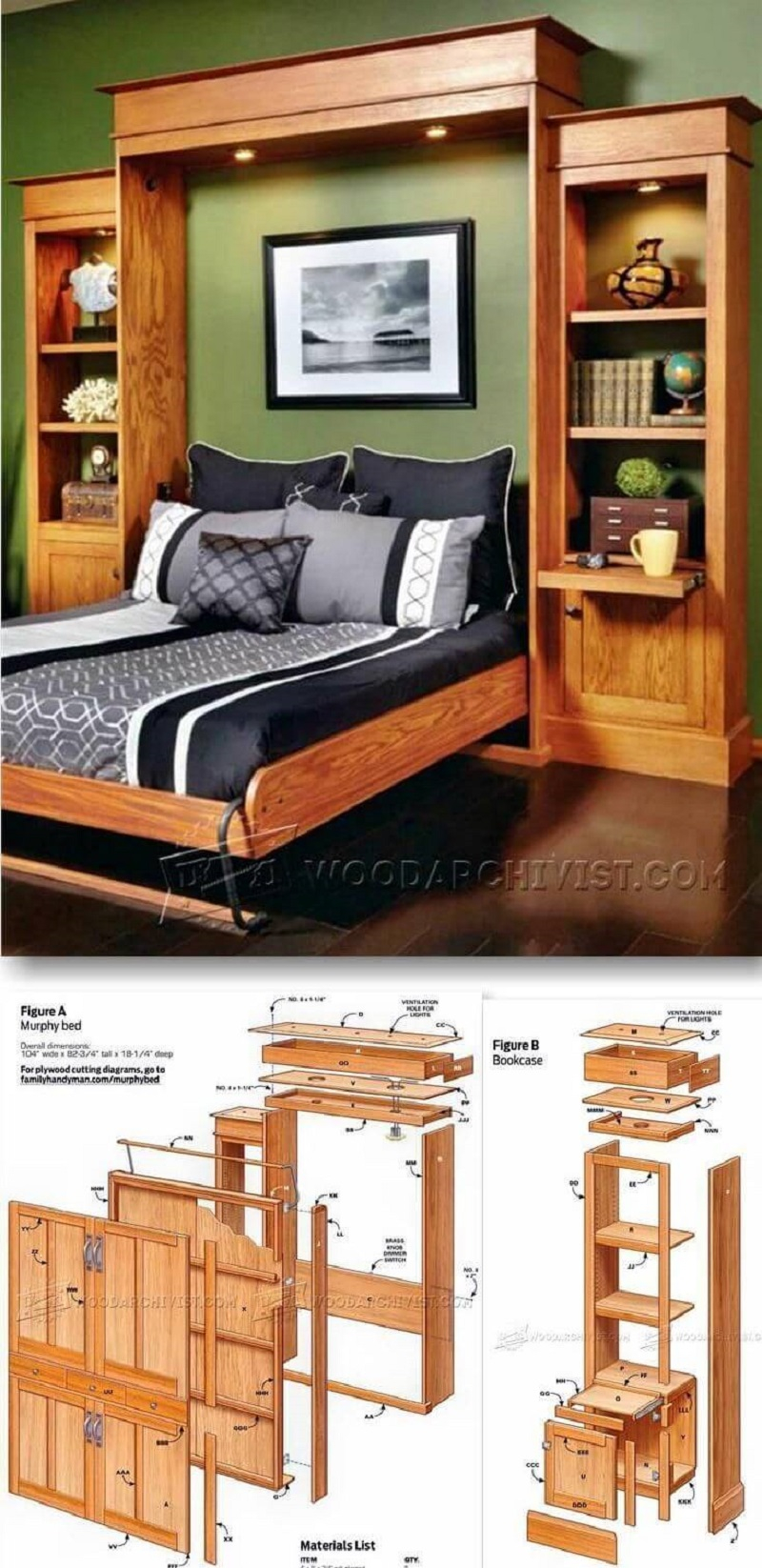 A wooden murphy bed within a bookshelf