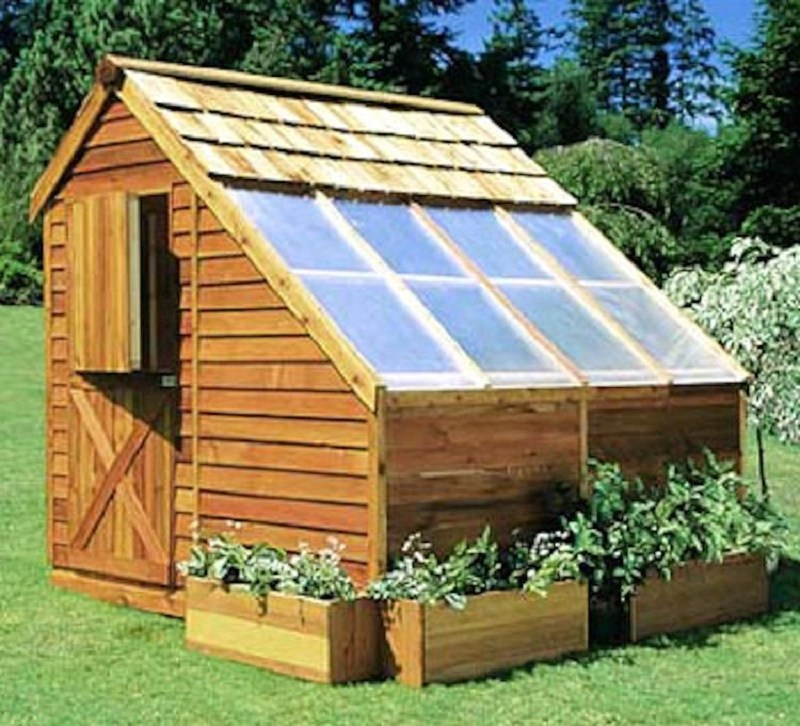 Backyard city cedar greenhouse