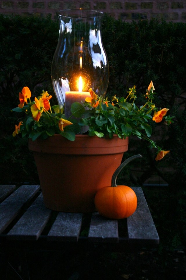 Candle lantern planter in a clay pot