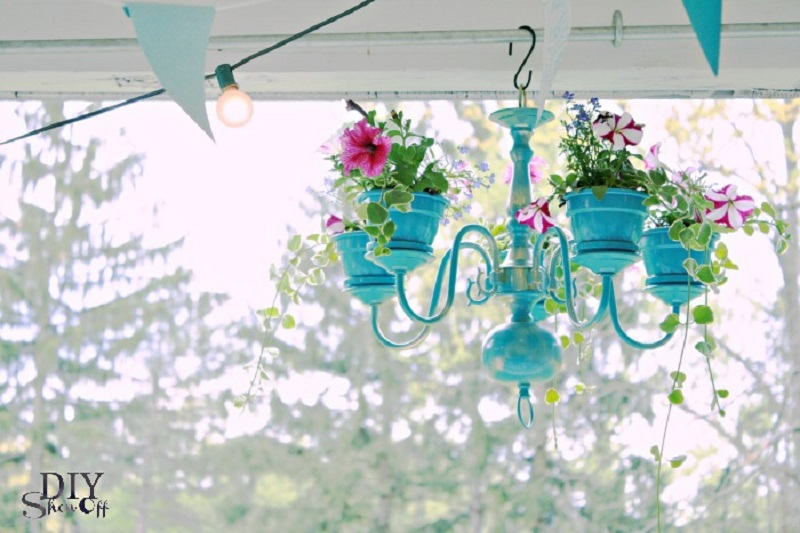 Clay flower pot craft with chandeliers