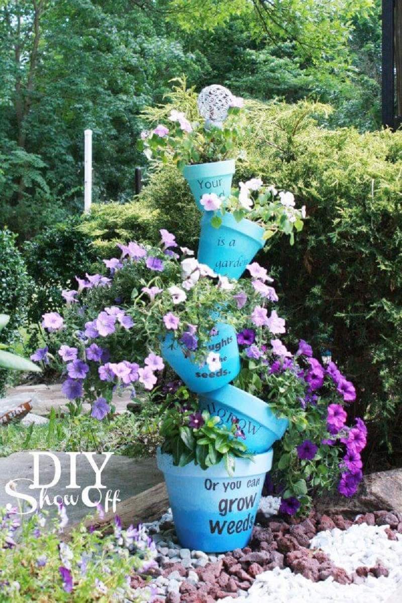 Whimsical tipped pot flower planter