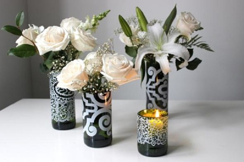 Wine bottle vase