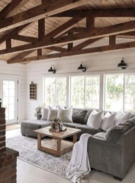 Rustic farmhouse living room decor ideas 17