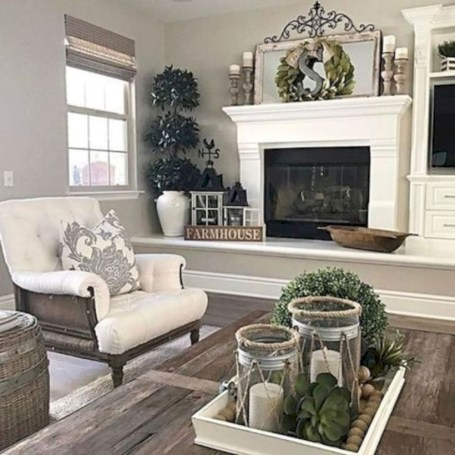 Rustic farmhouse living room decor ideas 32