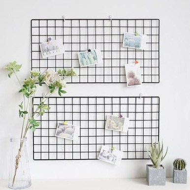 Best diy decor ideas for your home using wire wall grid 39