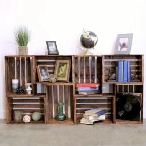 Diy wood crate shelves projects to calm the clutter effectively 13