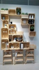 Diy wood crate shelves projects to calm the clutter effectively 43