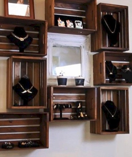 Diy wood crate shelves projects to calm the clutter effectively 49