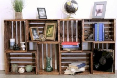 Diy wood crate shelves projects to calm the clutter effectively 51