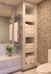 Built-in bathroom shelf and storage ideas to keep your bathroom organized 05