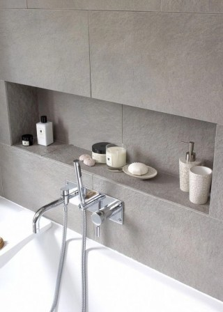 Built-in bathroom shelf and storage ideas to keep your bathroom organized 26