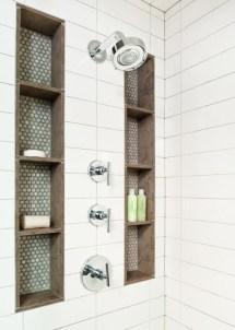 Built-in bathroom shelf and storage ideas to keep your bathroom organized 29