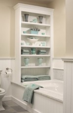 Built-in bathroom shelf and storage ideas to keep your bathroom organized 37
