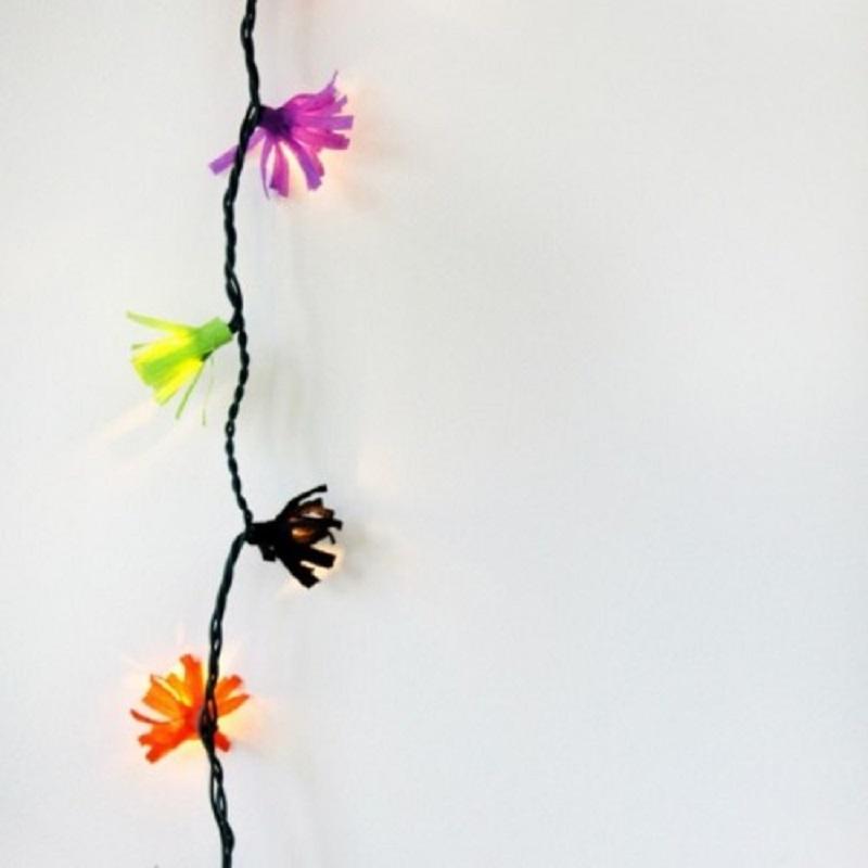 DIY Colorful Paper Fringe Lights