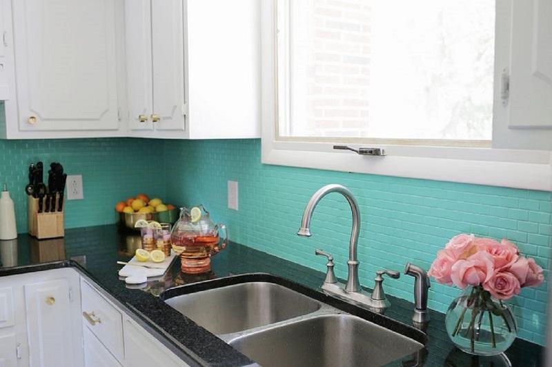 Painted Tile DIY Backsplash
