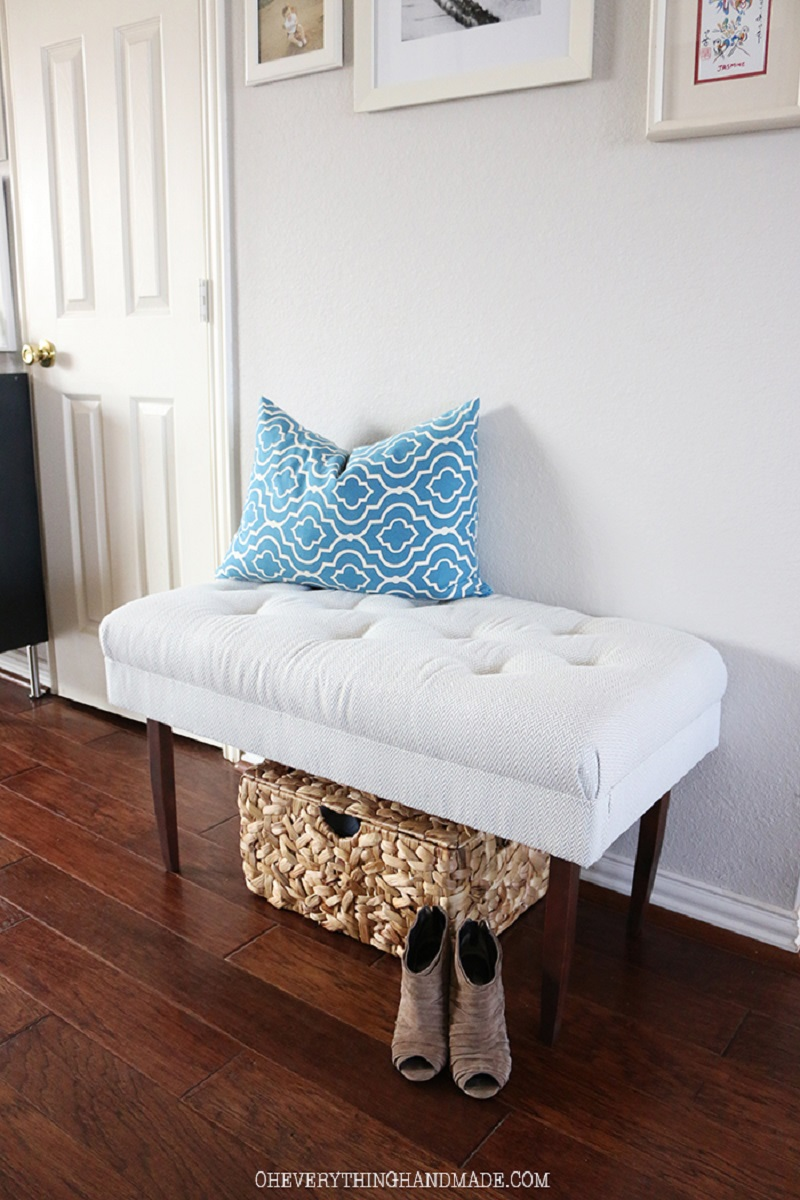 Upholstered With Printed Blue Fabric Bench