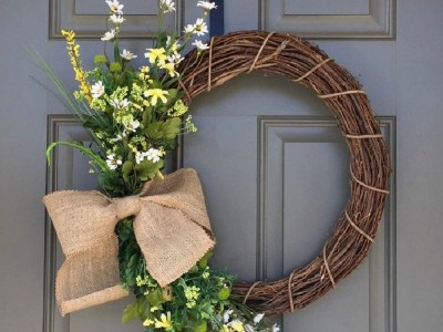 Wildflower and burlap wreath