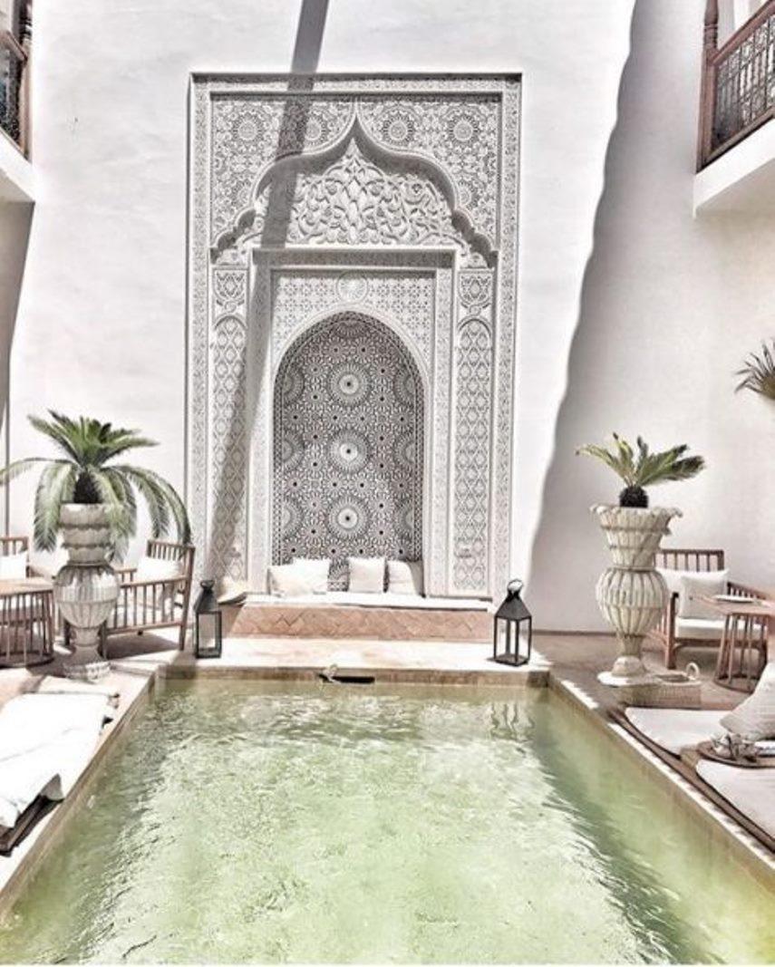 Bright moroccan boho patio