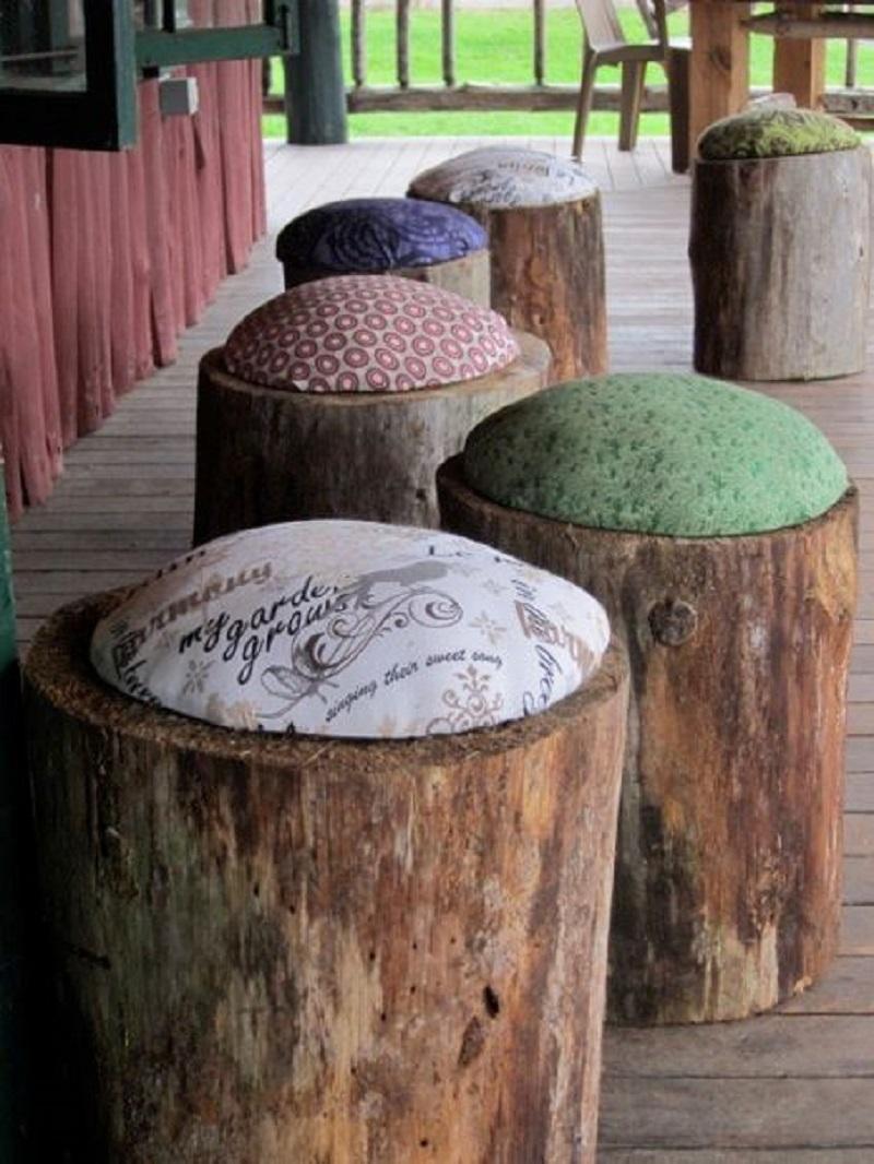 Cushioned stump stools