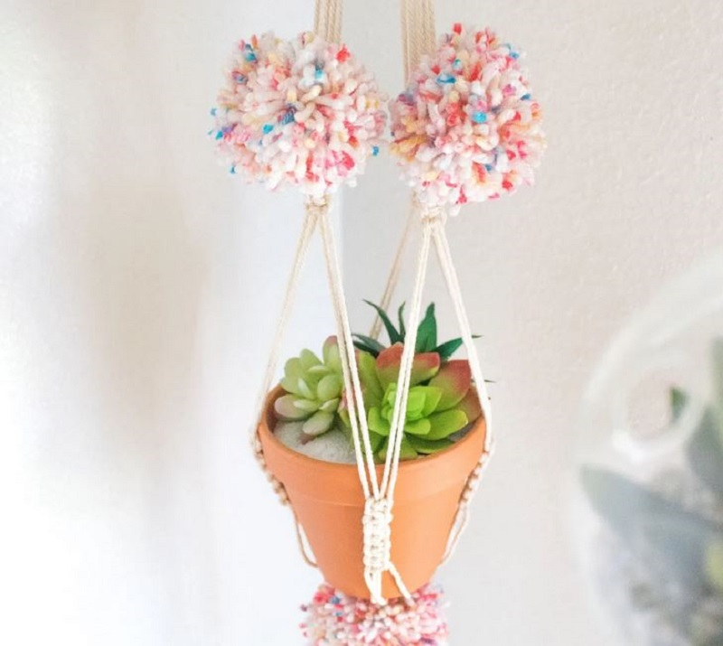 Diy pom pom macrame hanging plant