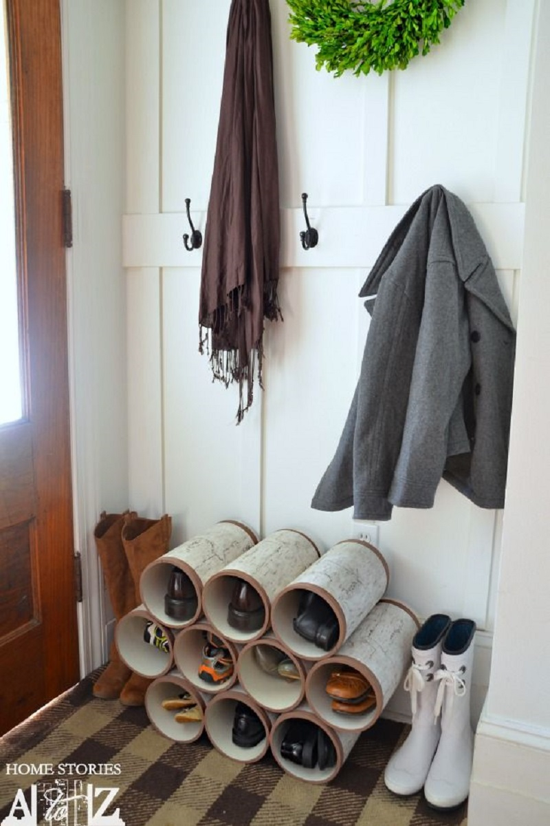 Pvc pipe shoe organizer DIY Shoe Rack Ideas That Perfect For Your Family To Have Easy Shoes Hunting