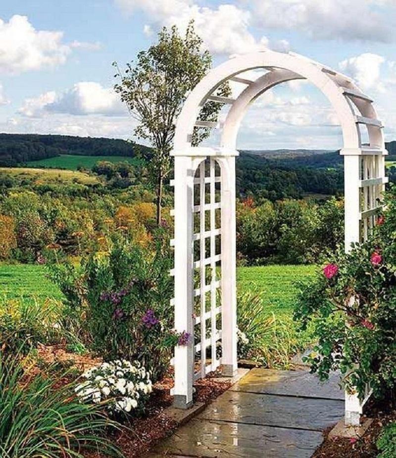 Pretty white garden arch DIY Garden Plans Arch Ideas To Create Beautiful Welcoming Frame