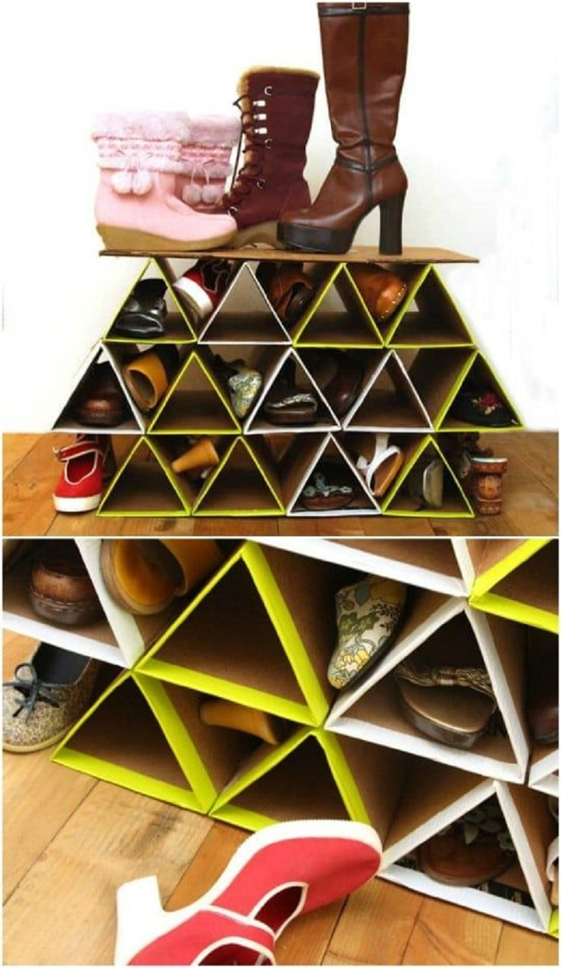 Space-saving shoe rack with repurposed cardboard DIY Shoe Rack Ideas That Perfect For Your Family To Have Easy Shoes Hunting