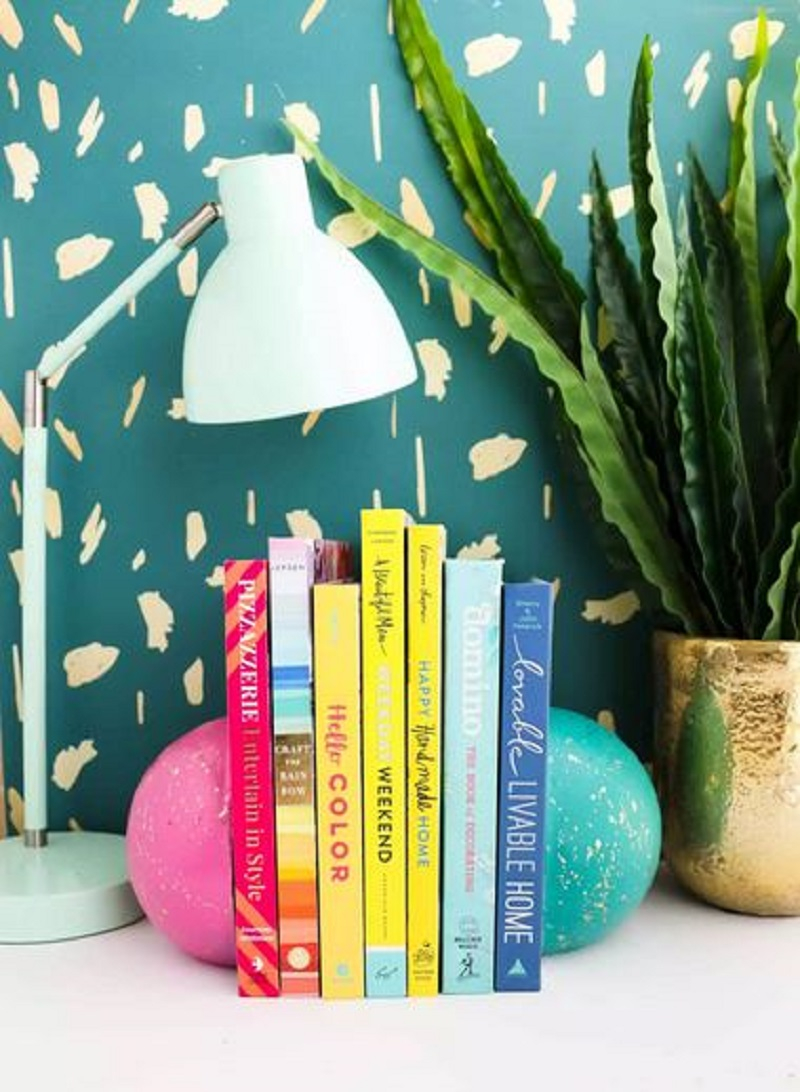 Colorful painted concrete bookends