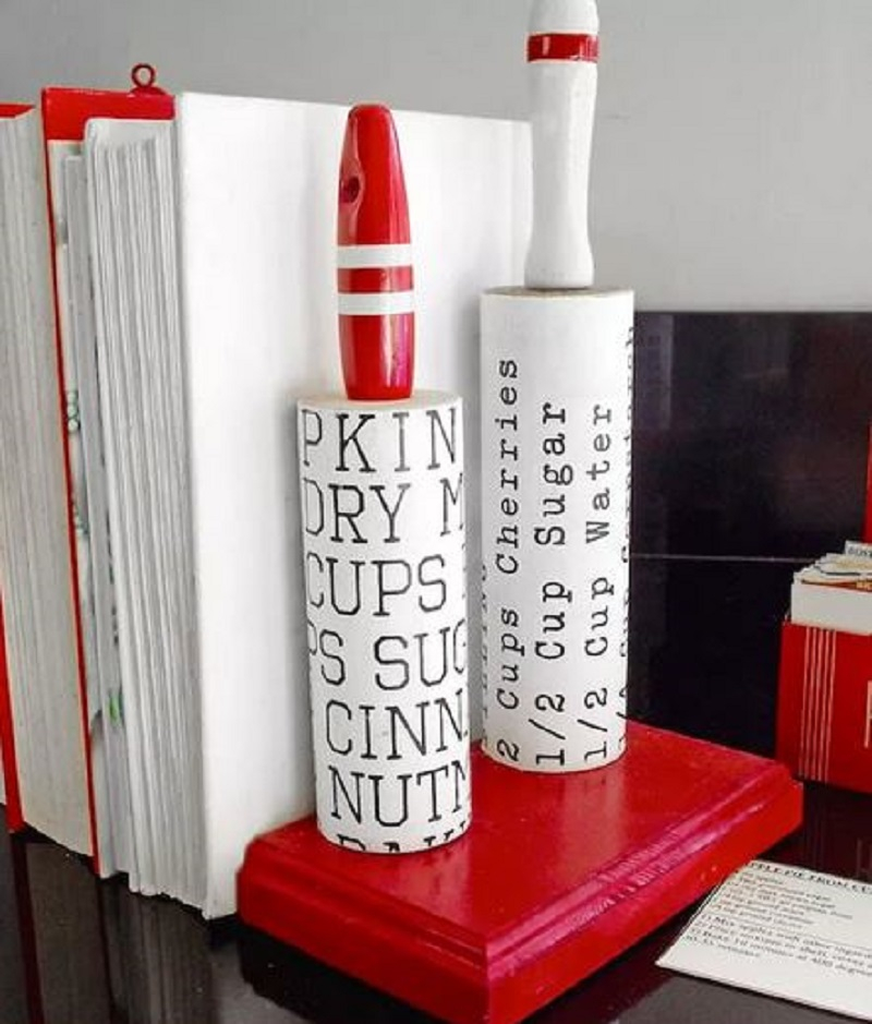 Diy cool rolling pin bookends