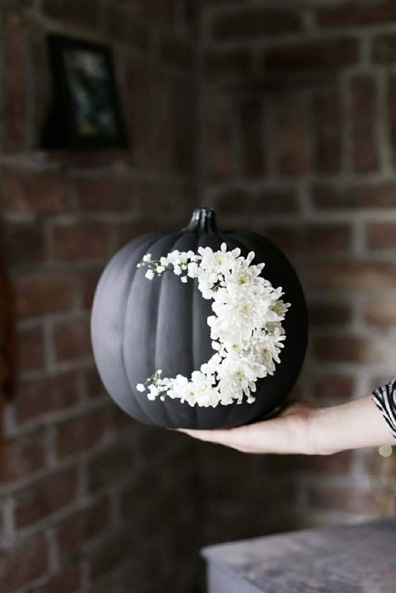Floral moon pumpkin Festive DIY No-Carve Pumpkins Ideas That Are Easy To Copy For This Halloween