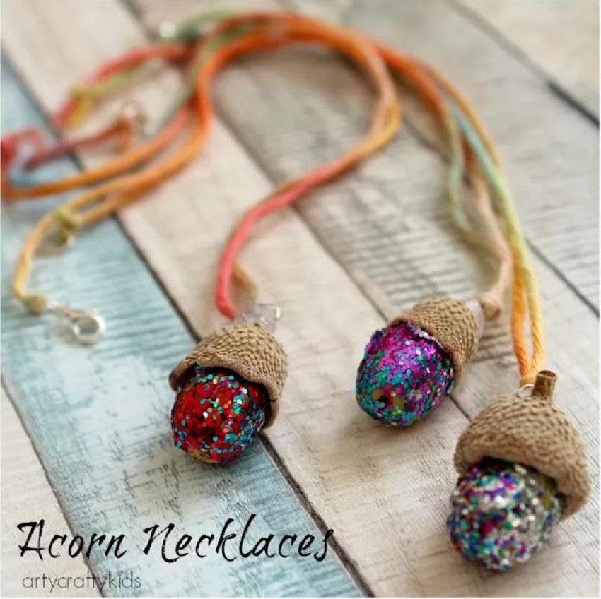Glittery acorn necklace