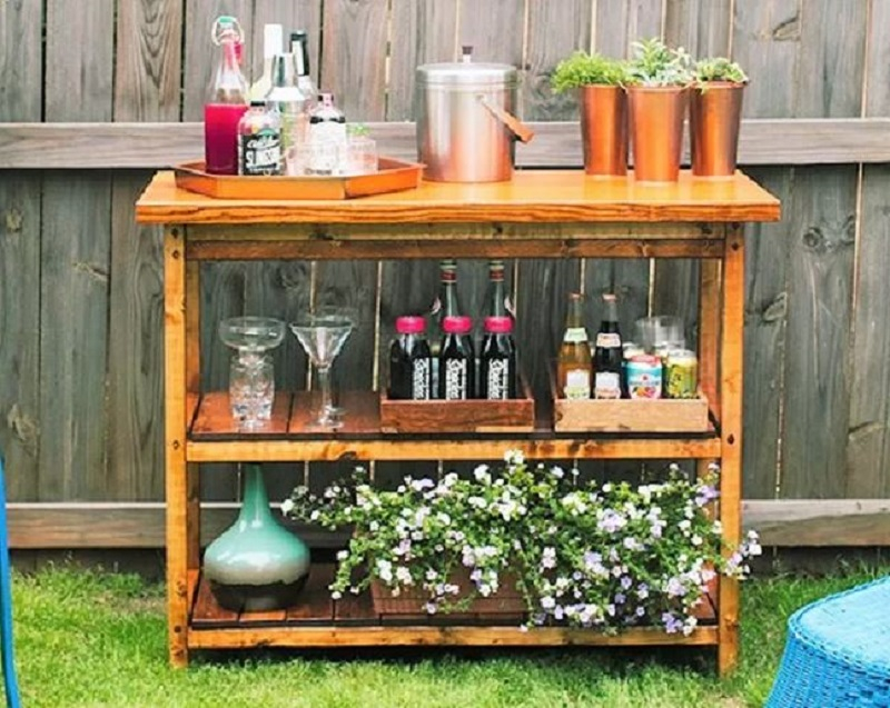 Outdoor wooden bar cart