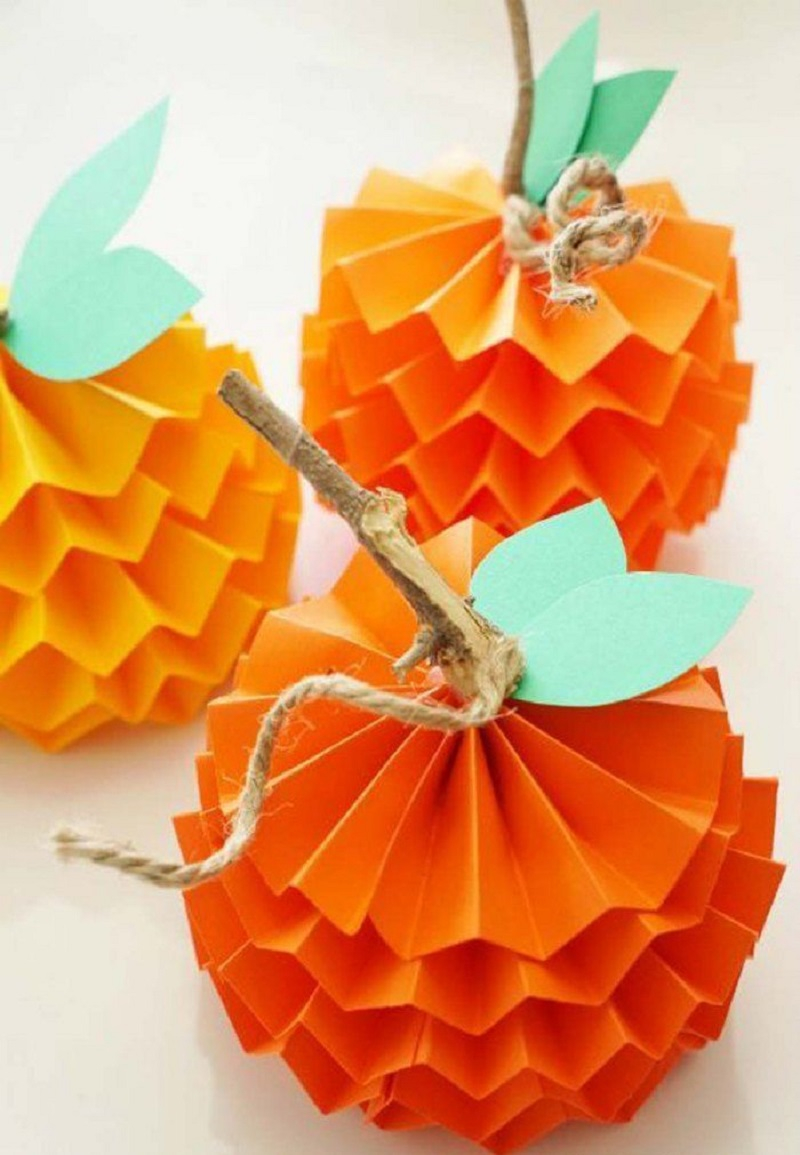 Paper pumpkins DIY Effortless Halloween Crafts For Kids To keep Them Busy This Month