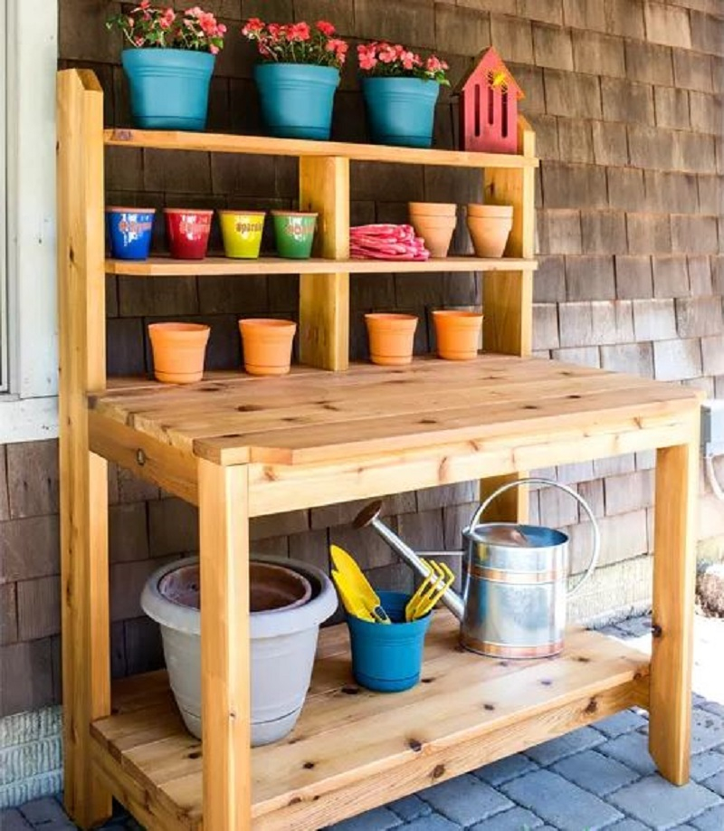 Potting bench with a table