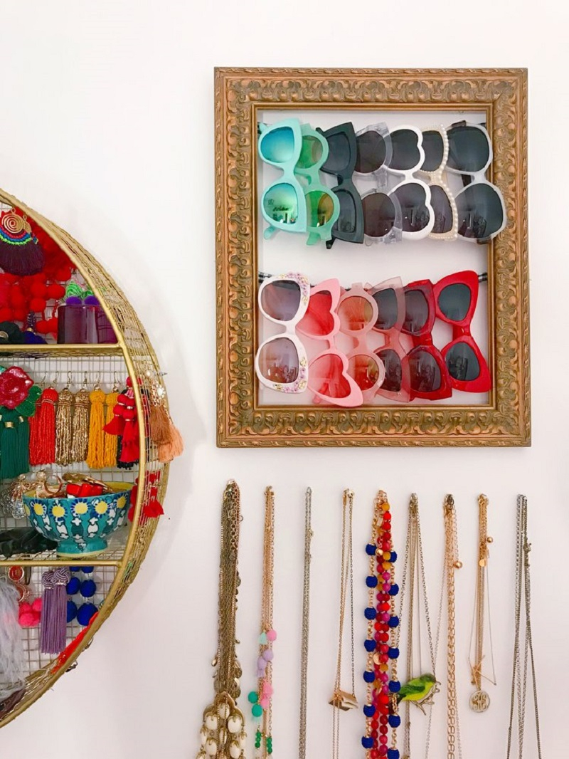 Store sunglasses on a revamped frame Precocious DIY Ideas To Repurpose Old Picture Frames That Truly Functional And Inexpensive
