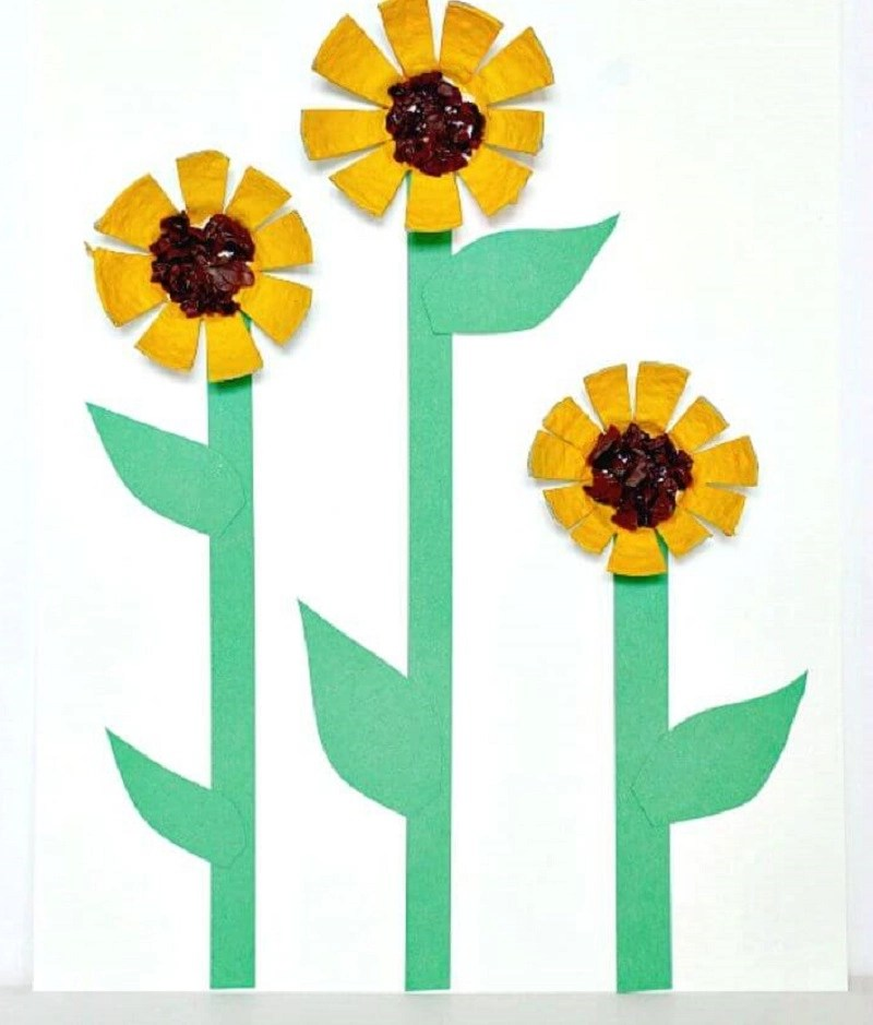 Sunflowers from recycled egg cartons DIY Inspire Flower Crafts Ideas Your Kids Can Create With Or Without You