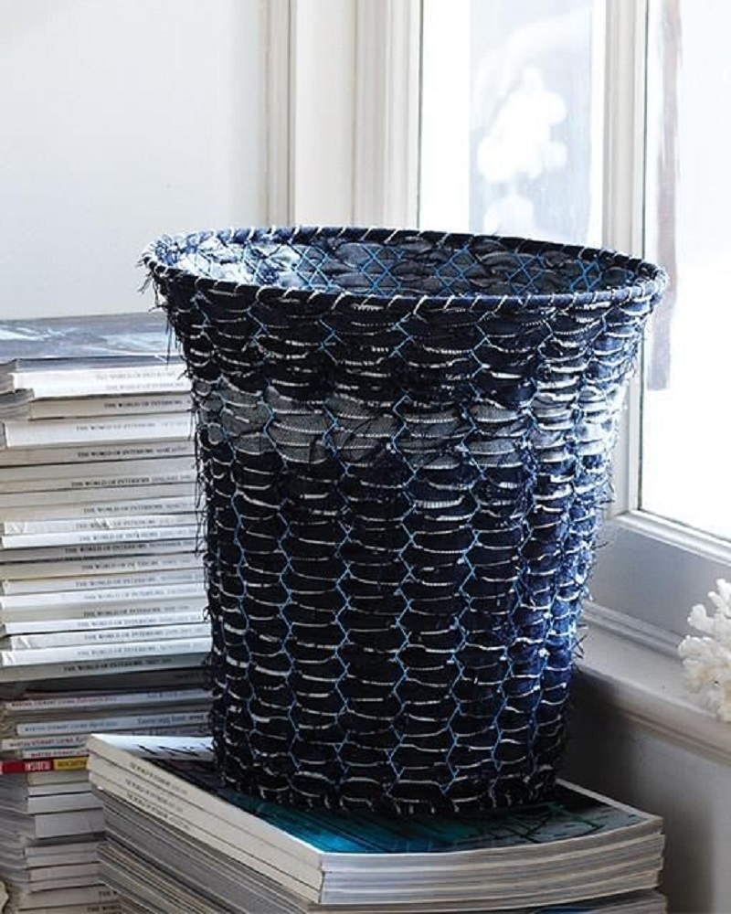 Upcycled denim basket DIY Bowls, Bins, And Baskets That Unexpectedly Gorgeous In Style And Tidy Up Your Space