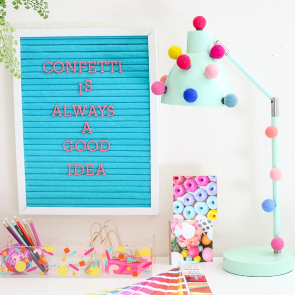 Basic desk lamp décor with magnet DIY Updated Colorful Pom Pom Crafts That Anyone Will Love To Do