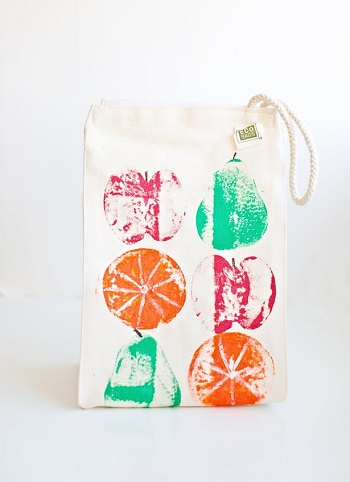 Colorful fruit stamped lunch bags School Edition Ideas Of DIY Lunch Bag That Perfectly Adorable