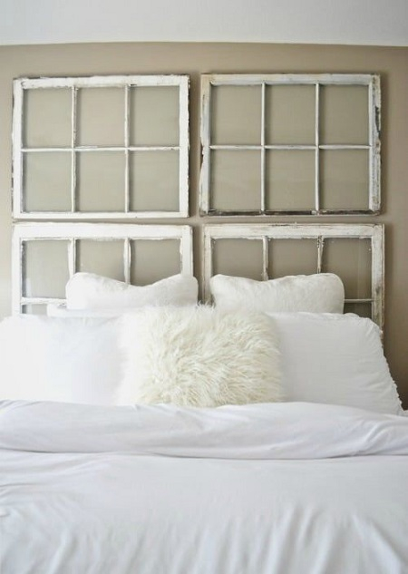 Diy antique window headboard DIY Out Of The Box Ideas Repurposing Old Windows For Best Furniture