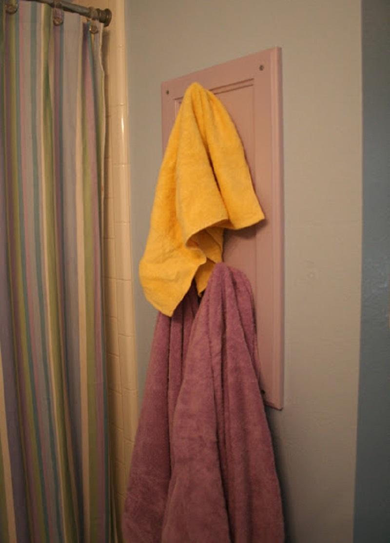 Diy cabinet door towel holder