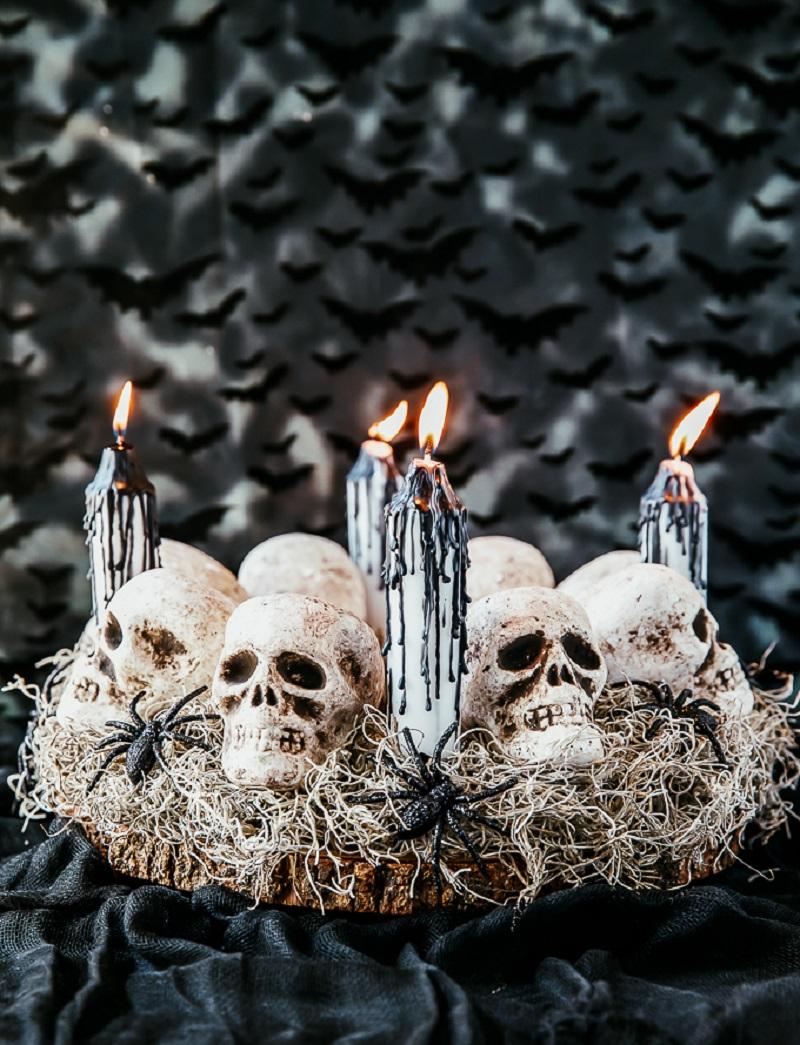 Diy halloween skull centerpiece