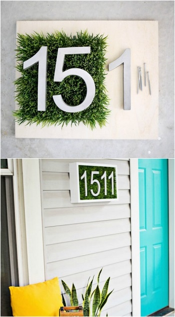 Living number display with faux grass DIY Unique Ideas of House Number You Can Create To Advance Your Home Presentation