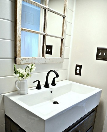 Old frame into a new bathroom mirror DIY Out Of The Box Ideas Repurposing Old Windows For Best Furniture