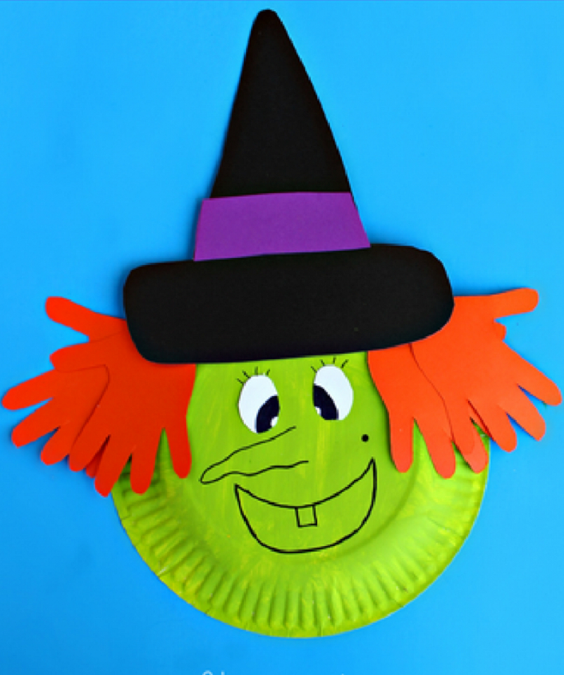 Paper plate witch craft Indescribable DIY Paper Plate Crafts To Complete Your Halloween Celebration