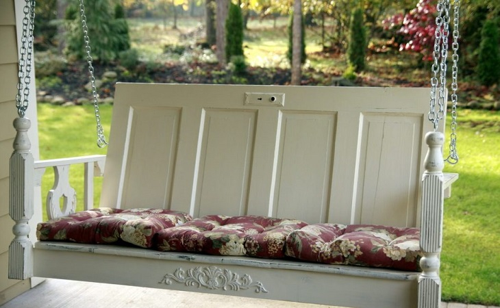 Porch swing made from old door Innovative DIY Ideas Of Reuse Old Doors For Useful Item Projects