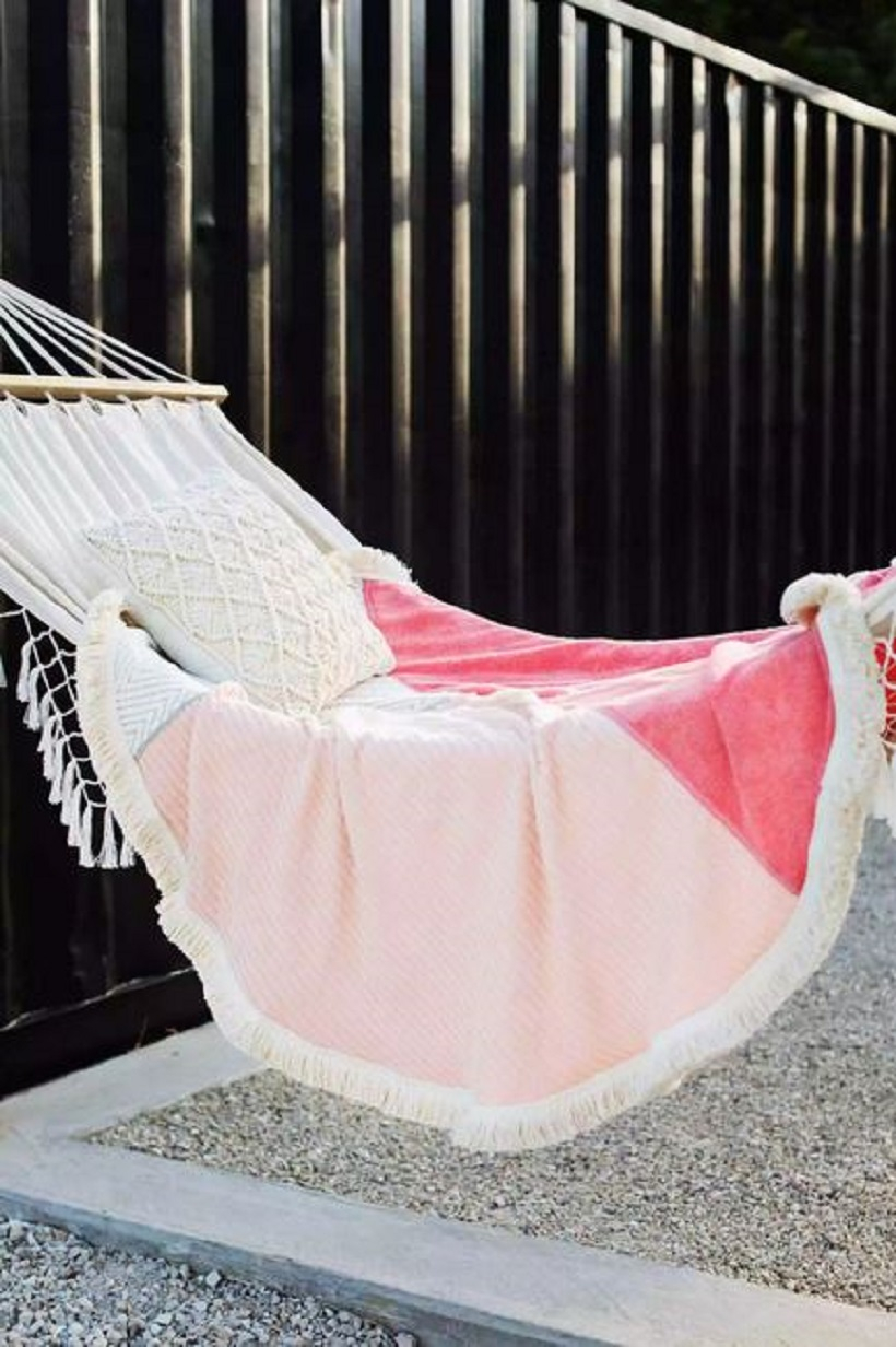 Round towel with outdoor hanging chair